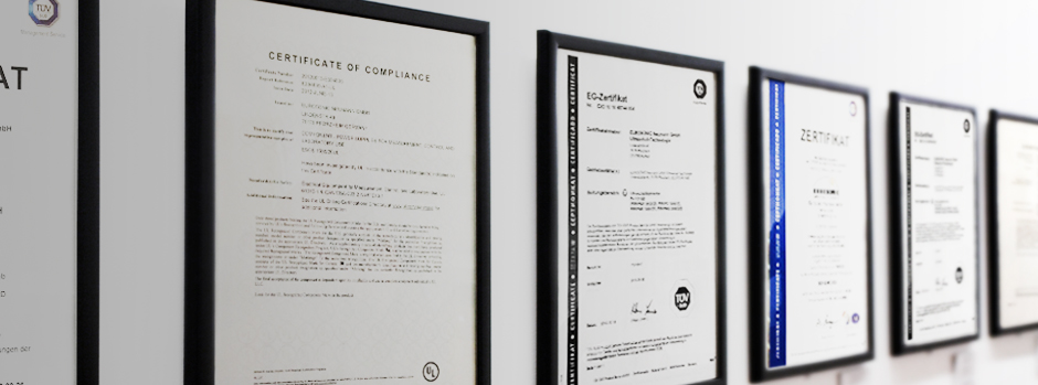 ATEX, ISO and UL certifications.